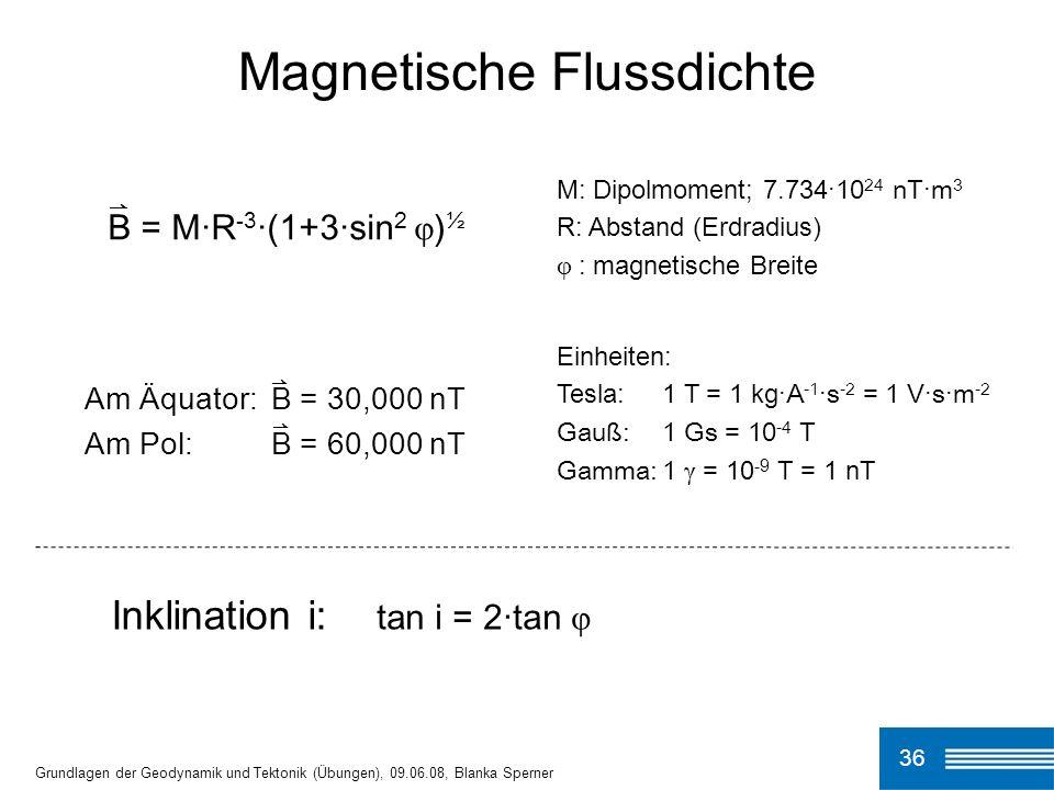 36 Magnetische Flussdichte Grundlagen der Geodynamik und Tektonik (Übungen), 09.06.08, Blanka Sperner B = M ·R -3 ·(1+3·sin 2 φ ) ½ M: Dipolmoment; 7.