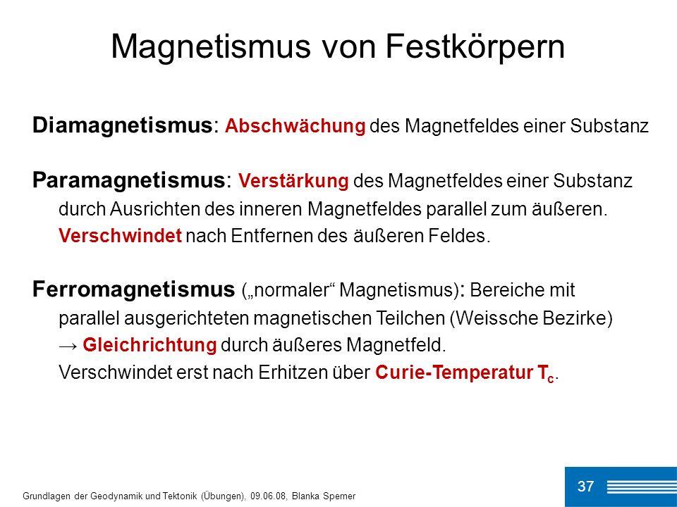 37 Magnetismus von Festkörpern Grundlagen der Geodynamik und Tektonik (Übungen), 09.06.08, Blanka Sperner Diamagnetismus: Abschwächung des Magnetfelde