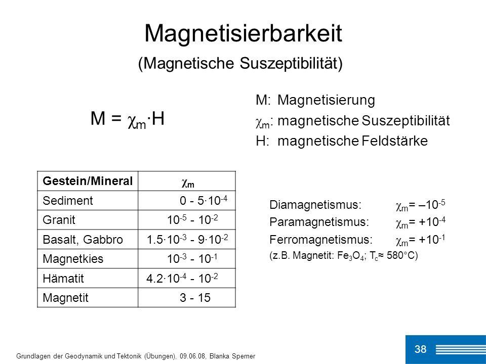 38 Magnetisierbarkeit Grundlagen der Geodynamik und Tektonik (Übungen), 09.06.08, Blanka Sperner (Magnetische Suszeptibilität) M = χ m ·H M:Magnetisie