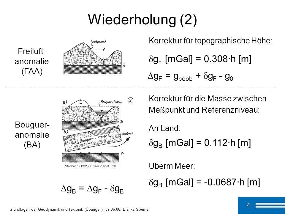 25 Grundlagen der Geodynamik und Tektonik (Übungen), 09.06.08, Blanka Sperner Gebirge verdickte Kruste BA < 0 ehemals vorhandene Mantelwurzel ist bereits thermisch equilibriert horizontale Lith/Asth-Grenze