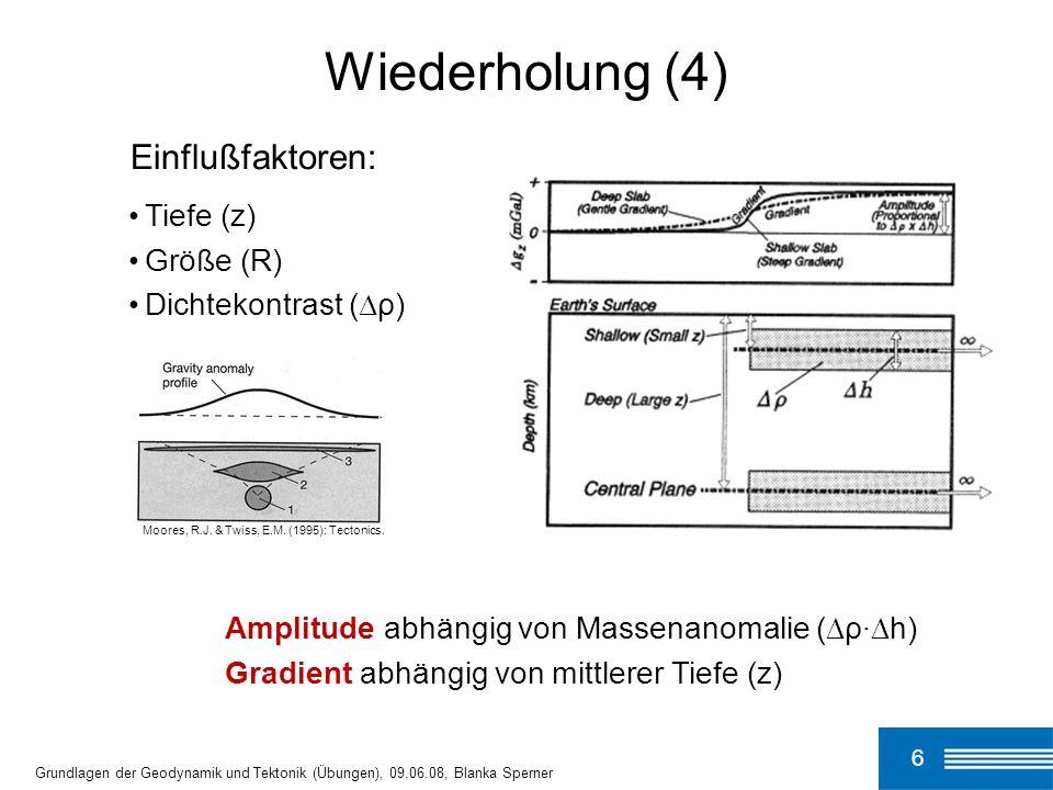 6 Grundlagen der Geodynamik und Tektonik (Übungen), 09.06.08, Blanka Sperner Wiederholung (4) Tiefe (z) Größe (R) Dichtekontrast ( ρ) Einflußfaktoren: