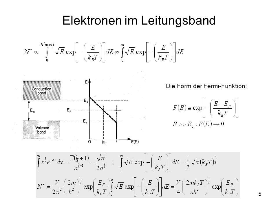 6 Die Fermi-Energie in Halbleitern Fermi-Energie: T = 0KT > 0K Energie Die Fermi-Energie (in Halbleitern) liegt in der Mitte der verbotenen Energiezone (gap) Temperatur