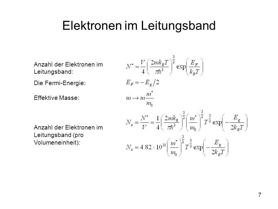 7 Elektronen im Leitungsband Anzahl der Elektronen im Leitungsband: Die Fermi-Energie: Effektive Masse: Anzahl der Elektronen im Leitungsband (pro Vol