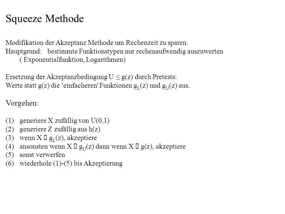 Squeeze Methode Modifikation der Akzeptanz Methode um Rechenzeit zu sparen. Hauptgrund:bestimmte Funktionstypen nur rechenaufwendig auszuwerten ( Expo