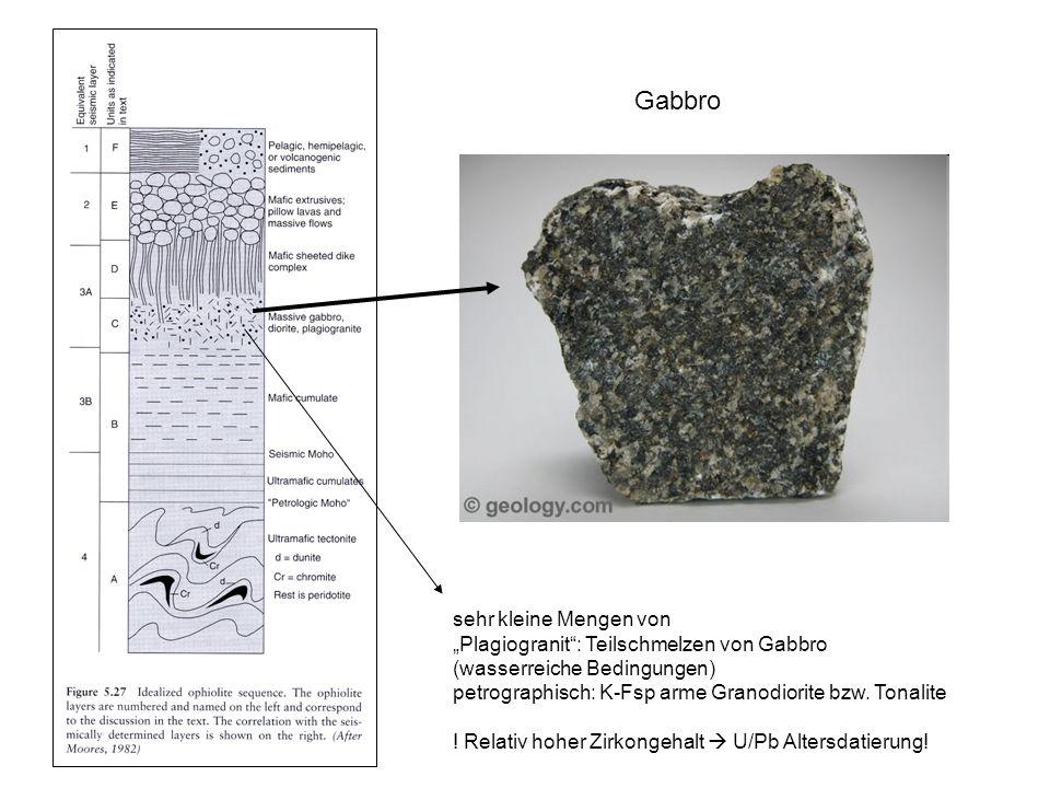sehr kleine Mengen von Plagiogranit: Teilschmelzen von Gabbro (wasserreiche Bedingungen) petrographisch: K-Fsp arme Granodiorite bzw. Tonalite ! Relat