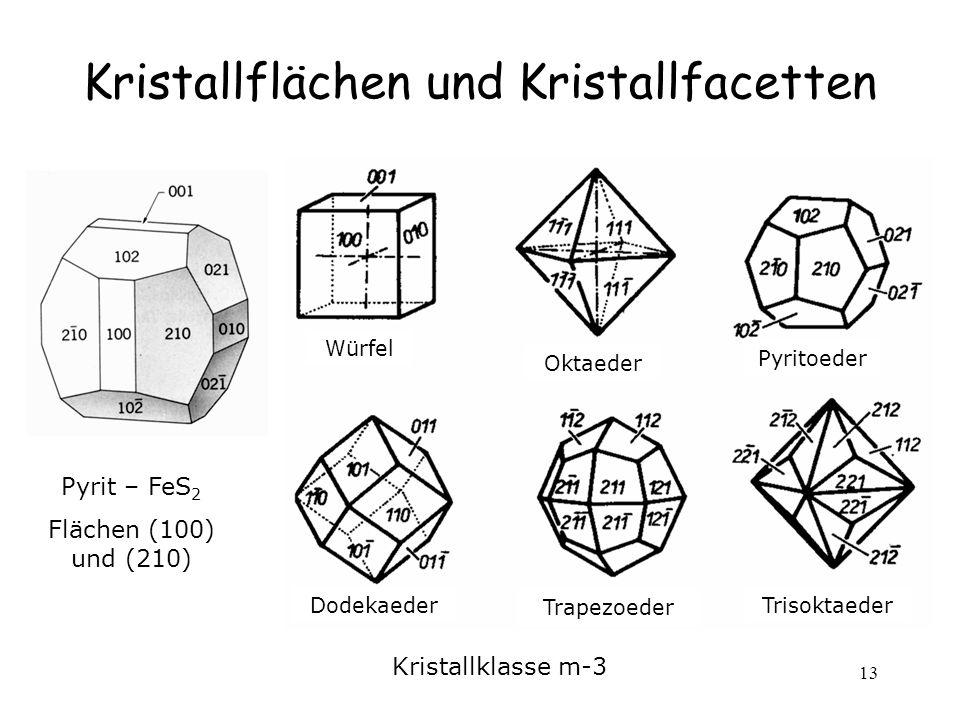 13 Kristallflächen und Kristallfacetten Pyrit – FeS 2 Flächen (100) und (210) Würfel Oktaeder Pyritoeder Dodekaeder Trapezoeder Trisoktaeder Kristallklasse m-3