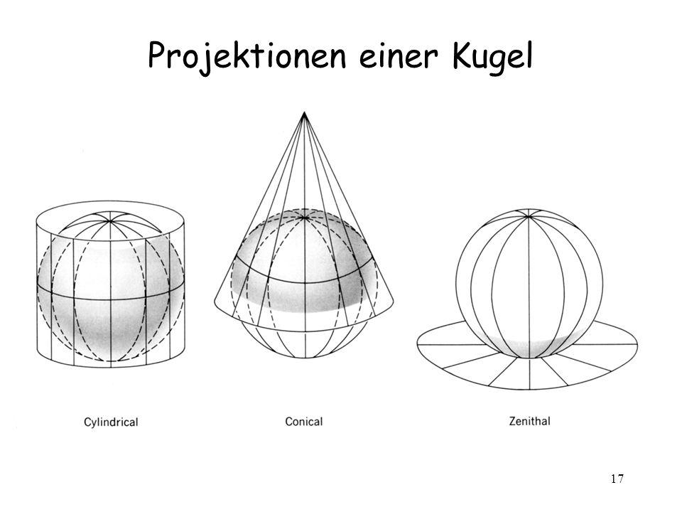 17 Projektionen einer Kugel