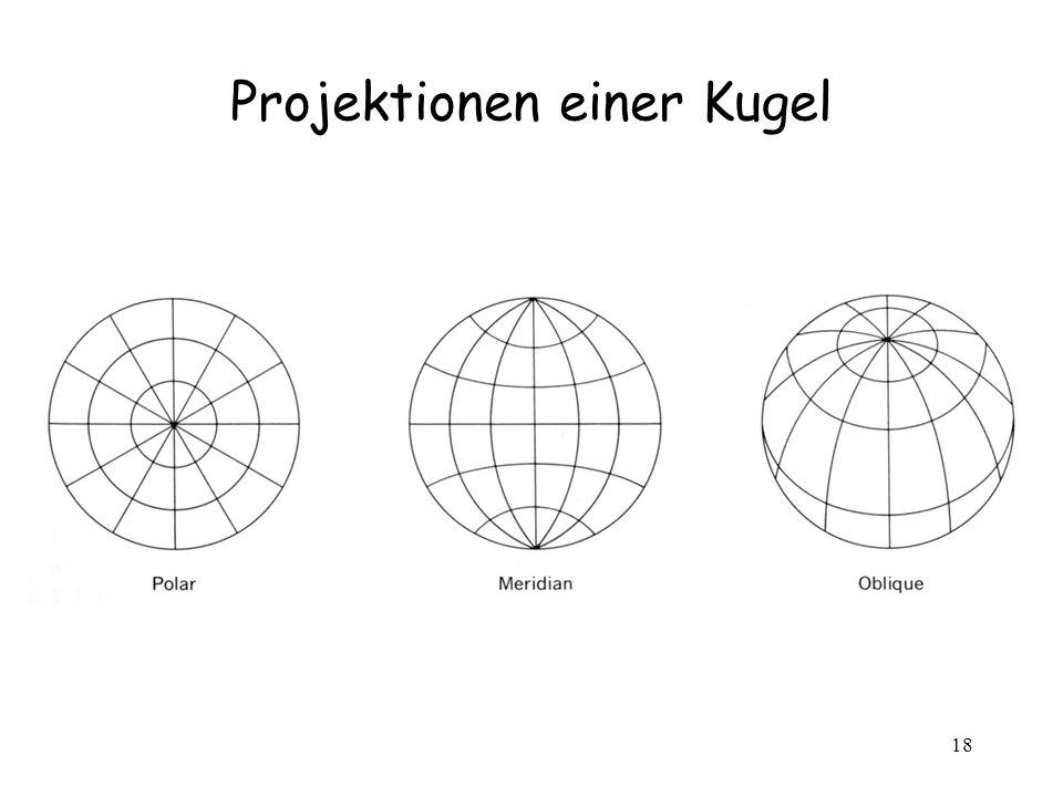 18 Projektionen einer Kugel