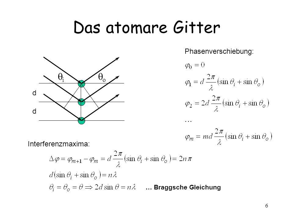 6 Das atomare Gitter i o d d Phasenverschiebung: Interferenzmaxima: … Braggsche Gleichung