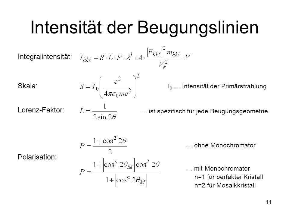 11 Intensität der Beugungslinien Integralintensität: Skala: Lorenz-Faktor: Polarisation: I 0 … Intensität der Primärstrahlung … ist spezifisch für jed