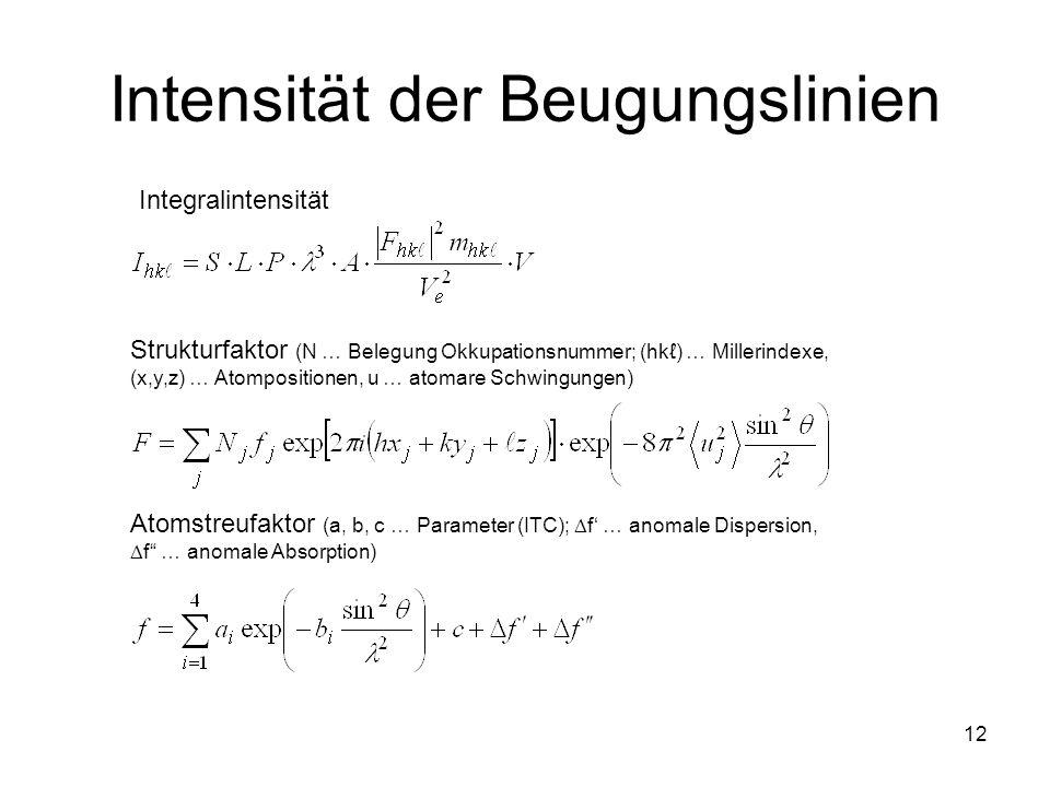 12 Intensität der Beugungslinien Integralintensität Strukturfaktor (N … Belegung Okkupationsnummer; (hk) … Millerindexe, (x,y,z) … Atompositionen, u …
