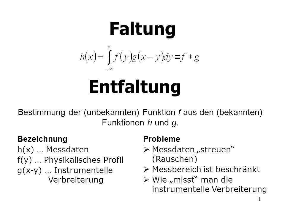 1 Faltung Bezeichnung h(x) … Messdaten f(y) … Physikalisches Profil g(x-y) … Instrumentelle Verbreiterung Probleme Messdaten streuen (Rauschen) Messbe