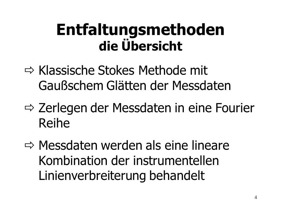 4 Entfaltungsmethoden die Übersicht Klassische Stokes Methode mit Gaußschem Glätten der Messdaten Zerlegen der Messdaten in eine Fourier Reihe Messdat