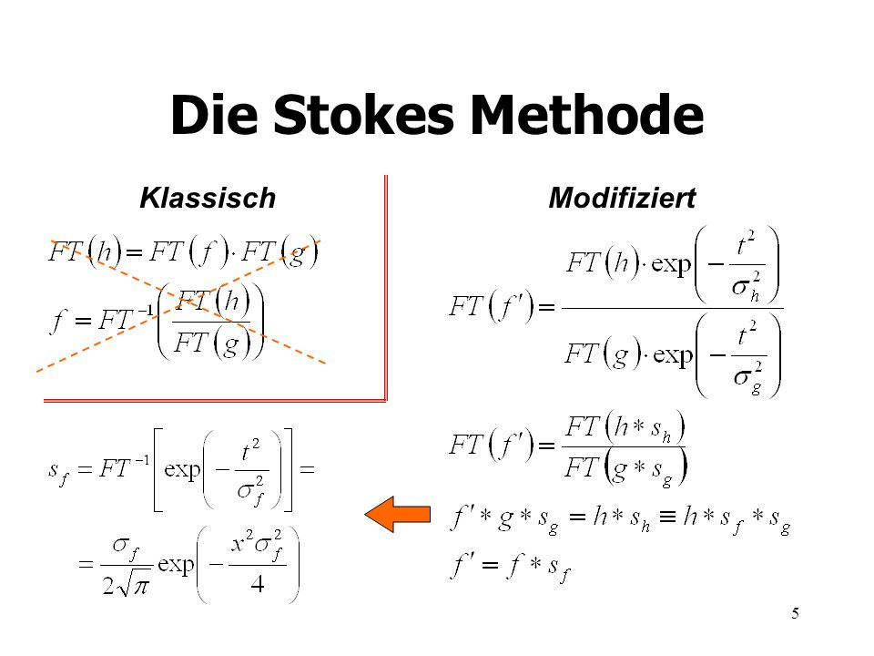 6 Die modifizierte Stokes Methode % Fourier transformations HH = fft(hyy); GG = fft(gyy); % Smoothing HH and GG sigma = length(HH)/20; x = 1:length(HH); gauss = exp(-(x.^2)/sigma^2); gauss = gauss + fliplr(gauss); HH = gauss.*HH; sigma = length(GG)/20; %...