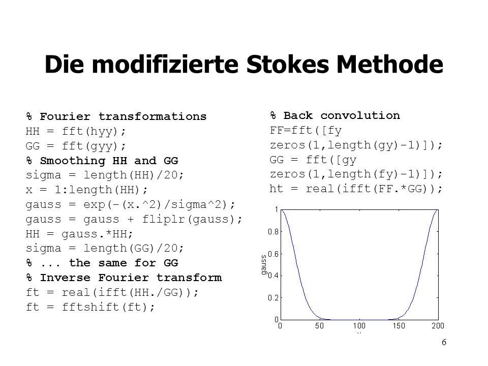 7 Die modifizierte Stokes Methode die Ergebnisse