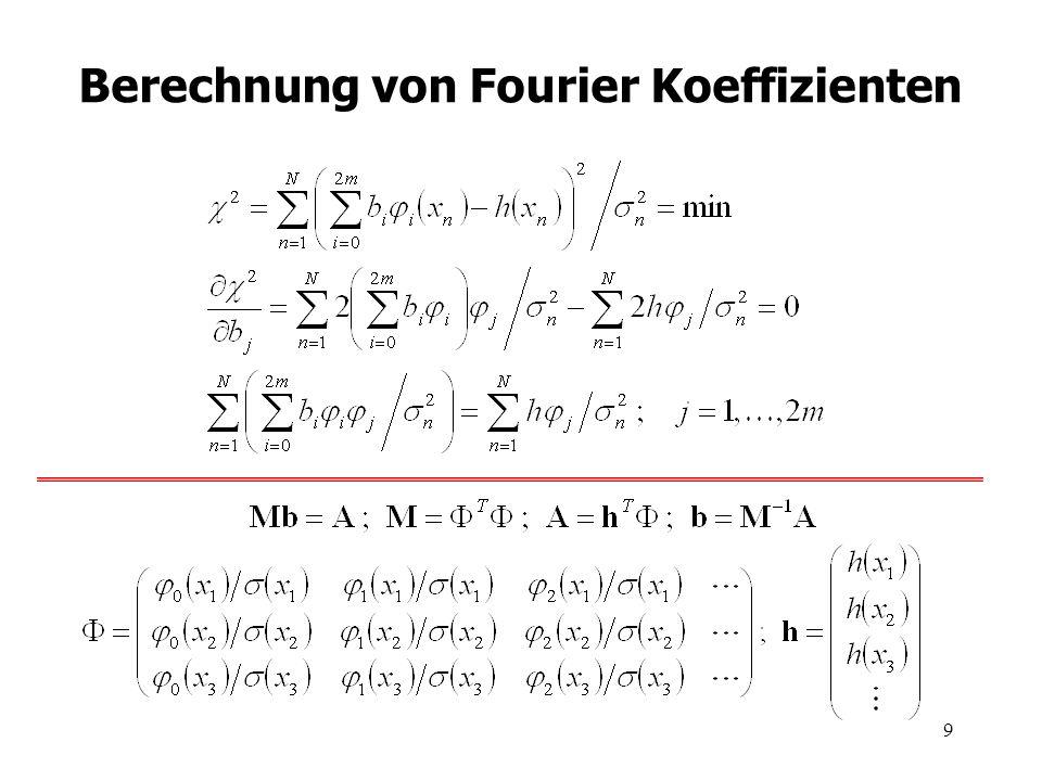 10 Berechnung von Fourier Koeffizienten % Harmonic functions fc(jj,:) = cos(jj*omega*hx); fs(jj,:) = sin(jj*omega*hx); % Convolution (g*fc) FF = fft([fc(jj,:)...