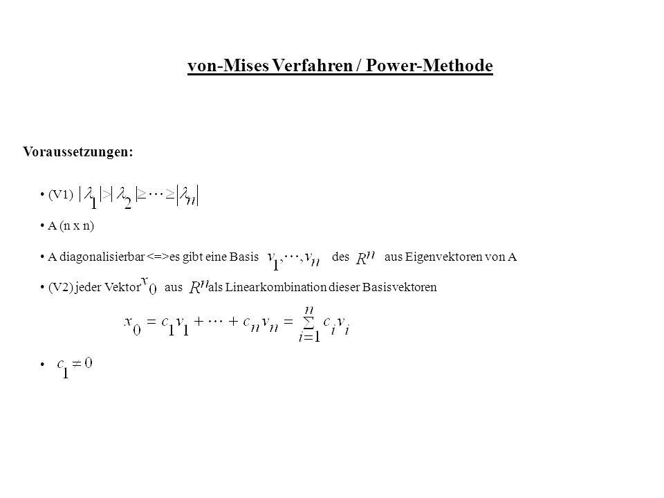 von-Mises Verfahren / Power-Methode Voraussetzungen: (V1) A (n x n) A diagonalisierbar es gibt eine Basis des aus Eigenvektoren von A (V2) jeder Vektor aus als Linearkombination dieser Basisvektoren