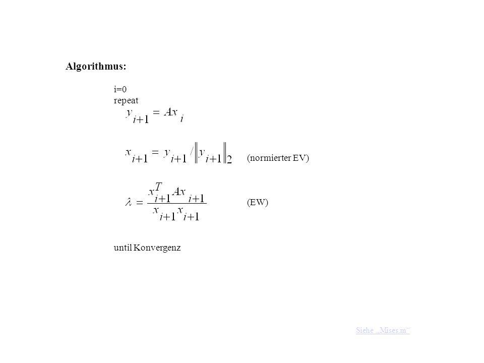 Algorithmus: i=0 repeat until Konvergenz (normierter EV) (EW) Siehe Mises.m