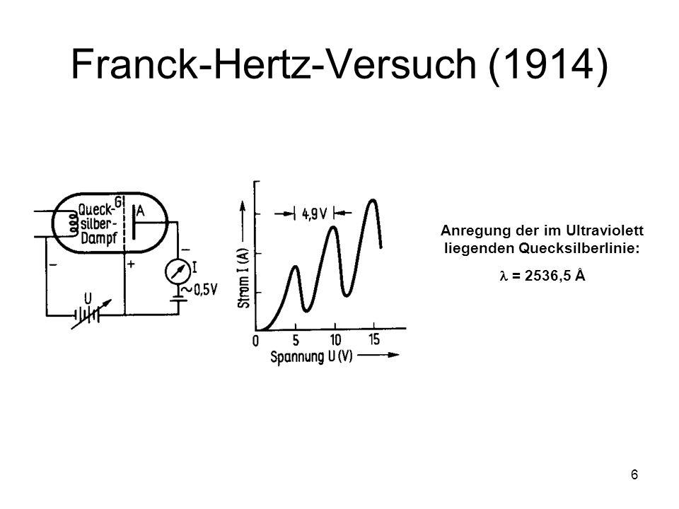 6 Franck-Hertz-Versuch (1914) Anregung der im Ultraviolett liegenden Quecksilberlinie: = 2536,5 Å