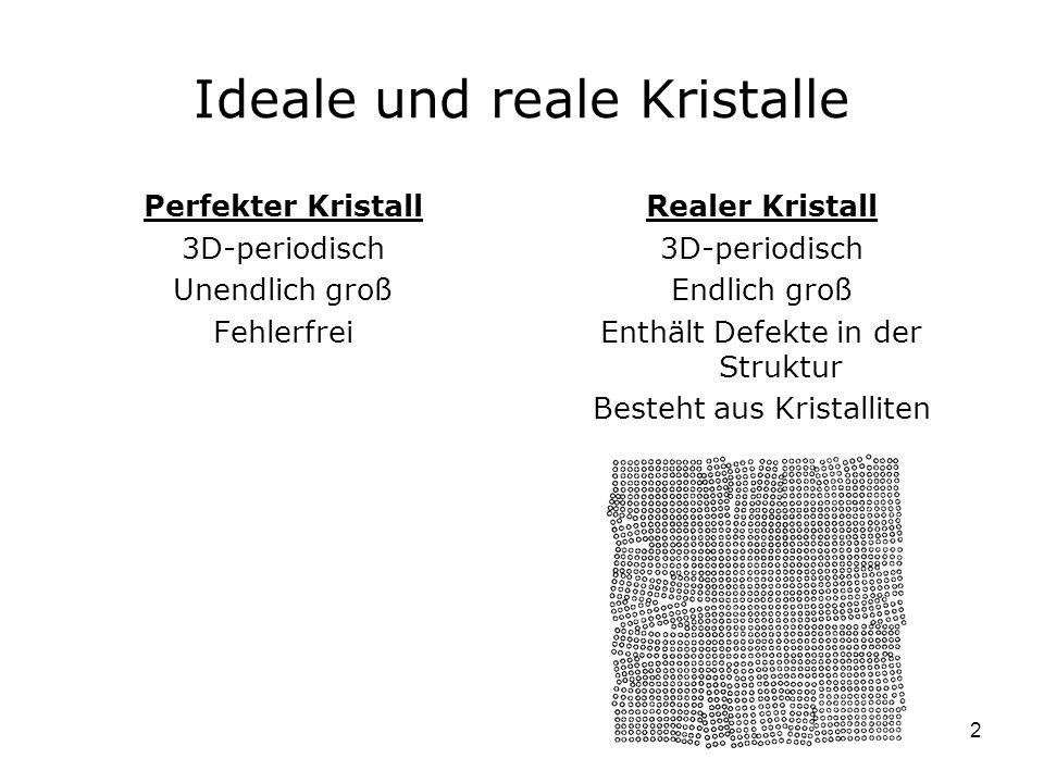 2 Ideale und reale Kristalle Perfekter Kristall 3D-periodisch Unendlich groß Fehlerfrei Realer Kristall 3D-periodisch Endlich groß Enthält Defekte in der Struktur Besteht aus Kristalliten