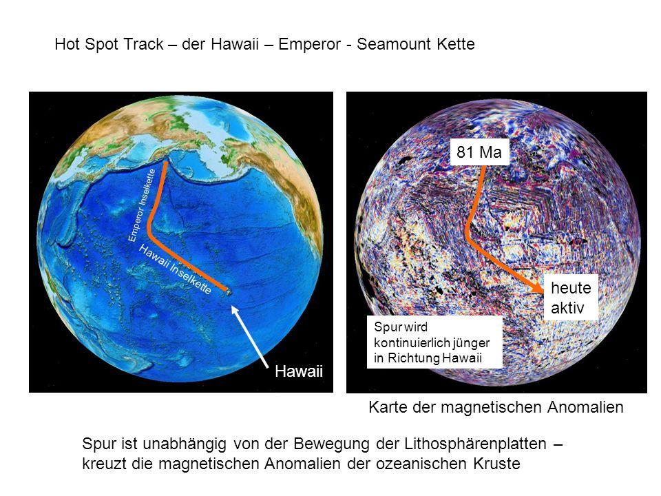 Hot Spot Track – der Hawaii – Emperor - Seamount Kette Hawaii Inselkette Emperor Inselkette 81 Ma heute aktiv Karte der magnetischen Anomalien Hawaii