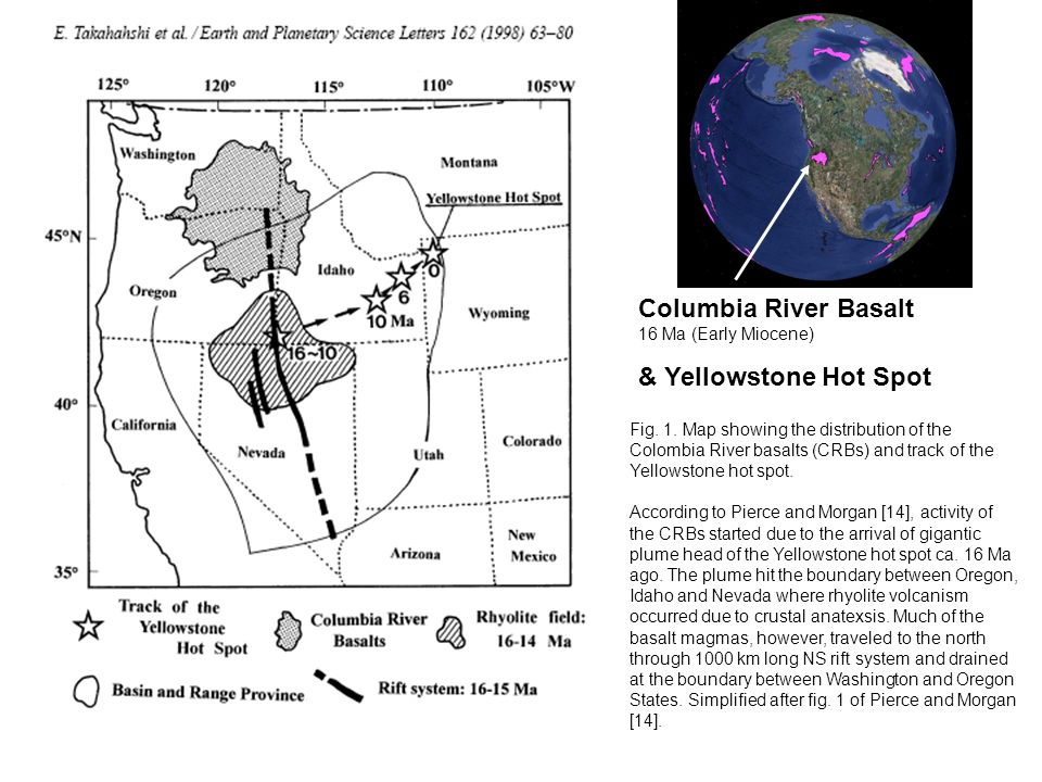 Fig. 1. Map showing the distribution of the Colombia River basalts (CRBs) and track of the Yellowstone hot spot. According to Pierce and Morgan [14],