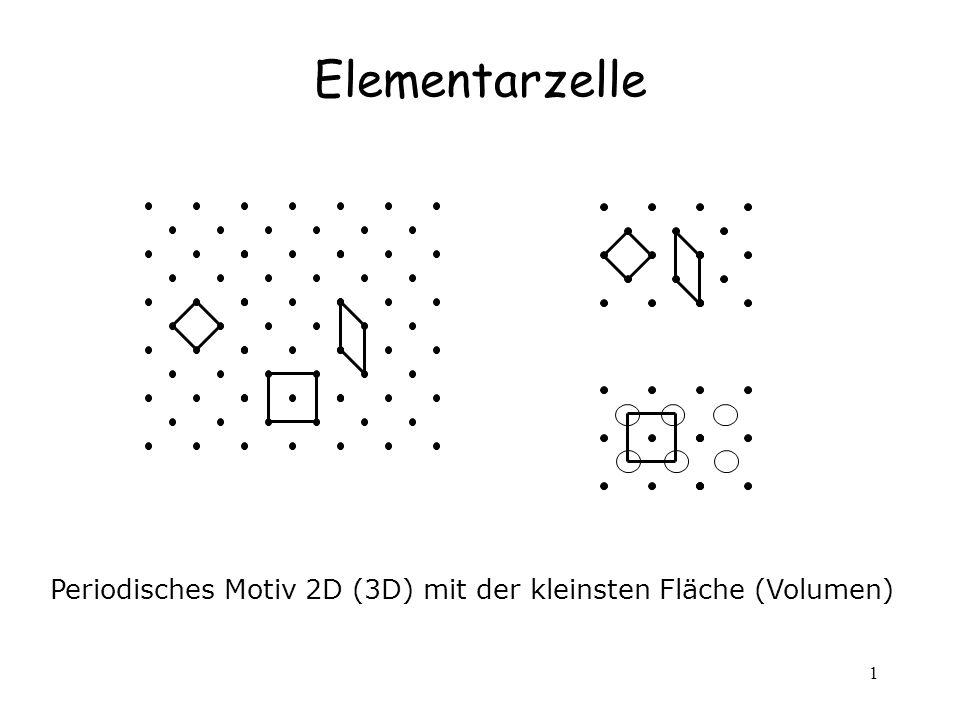 1 Elementarzelle Periodisches Motiv 2D (3D) mit der kleinsten Fläche (Volumen)