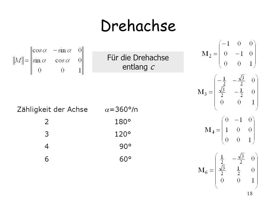 18 Drehachse Zähligkeit der Achse =360°n 2 180° 3 120° 4 90° 6 60° Für die Drehachse entlang c