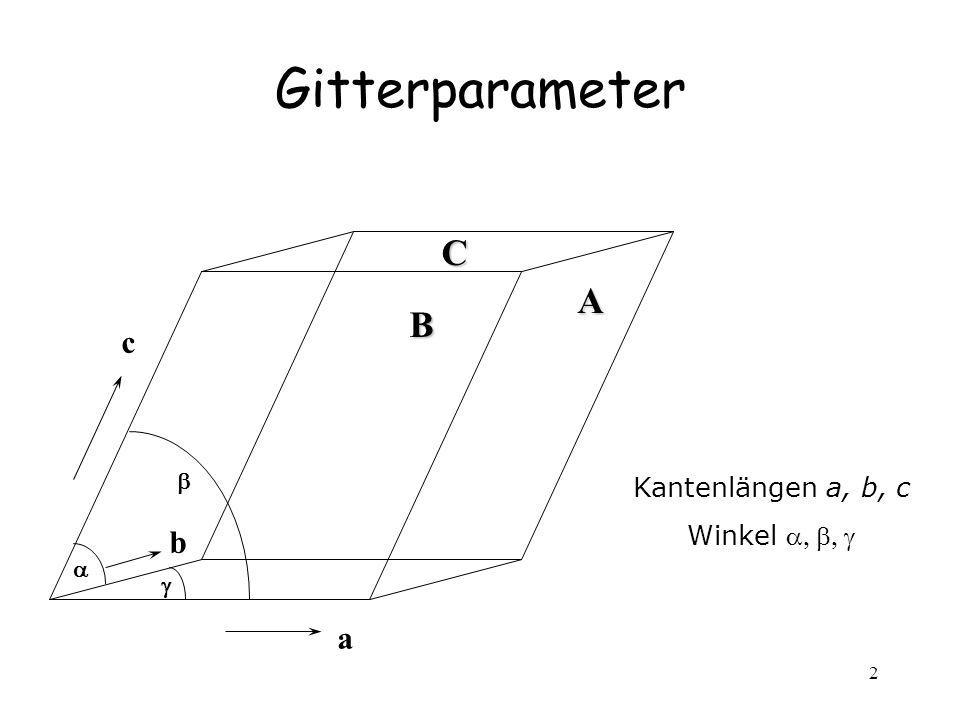 2 Gitterparameter Kantenlängen a, b, c Winkel a b c ACB