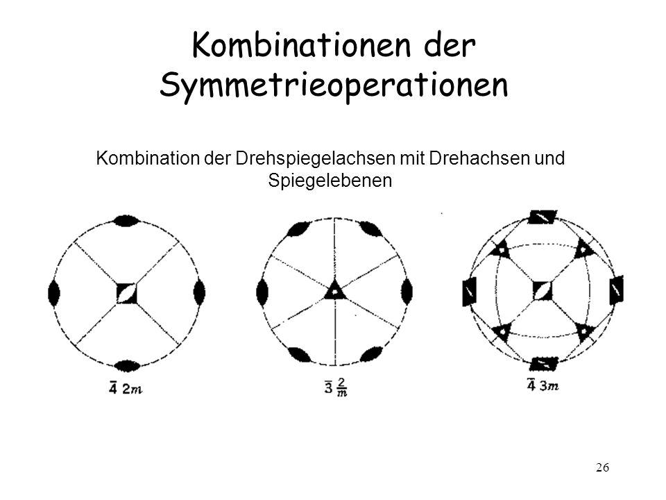 26 Kombinationen der Symmetrieoperationen Kombination der Drehspiegelachsen mit Drehachsen und Spiegelebenen