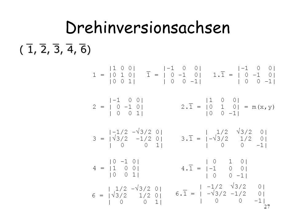 27 Drehinversionsachsen _ _ _ _ _ _ _ _ _ _ ( 1, 2, 3, 4, 6) ( 1, 2, 3, 4, 6) |1 0 0| 1 = |0 1 0| |0 0 1| _ |-1 0 0| 1 = | 0 -1 0| | 0 0 -1| _ |-1 0 0