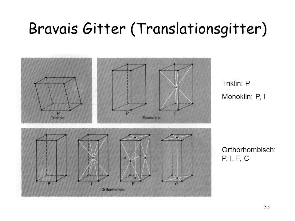 35 Bravais Gitter (Translationsgitter) Triklin: P Monoklin: P, I Orthorhombisch: P, I, F, C