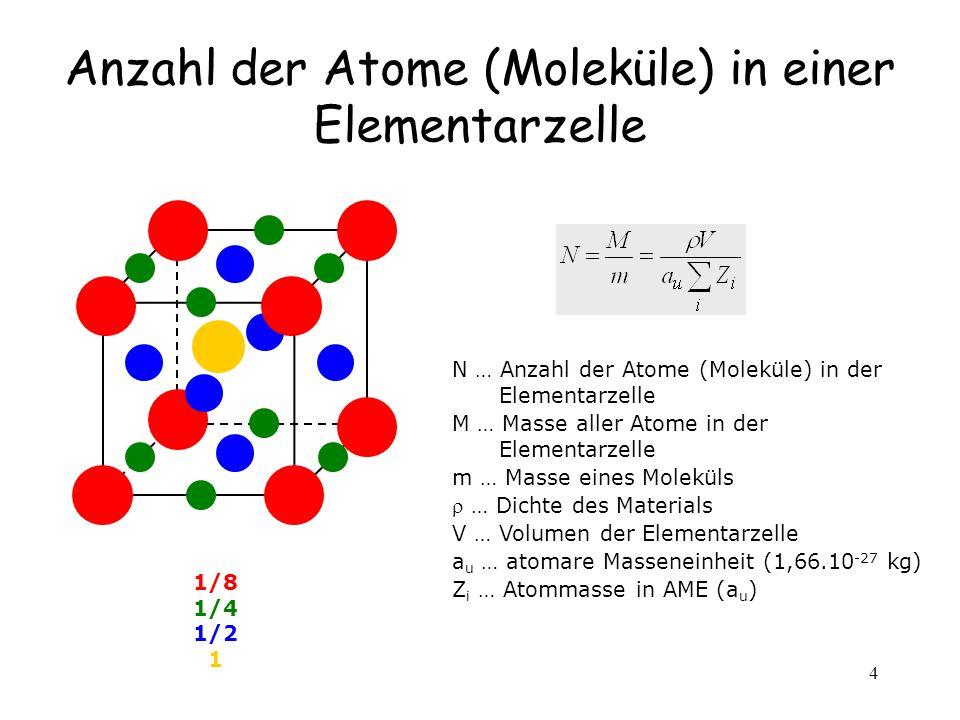 4 Anzahl der Atome (Moleküle) in einer Elementarzelle 1/8 1/4 1/2 1 N … Anzahl der Atome (Moleküle) in der Elementarzelle M … Masse aller Atome in der