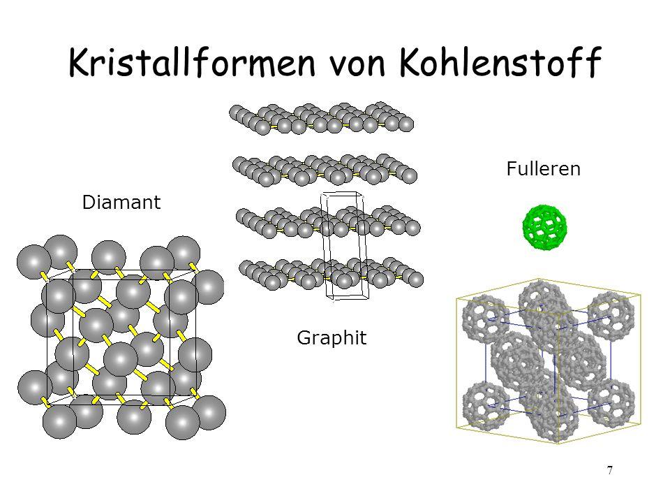 7 Kristallformen von Kohlenstoff Diamant Graphit Fulleren