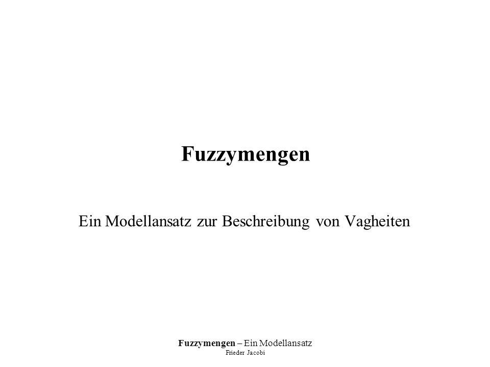 Fuzzymengen – Ein Modellansatz Frieder Jacobi Mengenoperationen geltende Gesetze: –α-Schnitte: –für beliebige unscharfe Mengen A,B,C gelten: dabei kann durch ersetzt werden