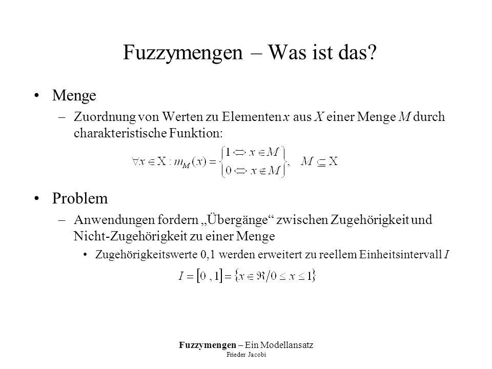 Fuzzymengen – Ein Modellansatz Frieder Jacobi Menge –Zuordnung von Werten zu Elementen x aus X einer Menge M durch charakteristische Funktion: Problem –Anwendungen fordern Übergänge zwischen Zugehörigkeit und Nicht-Zugehörigkeit zu einer Menge Zugehörigkeitswerte 0,1 werden erweitert zu reellem Einheitsintervall I Fuzzymengen – Was ist das?