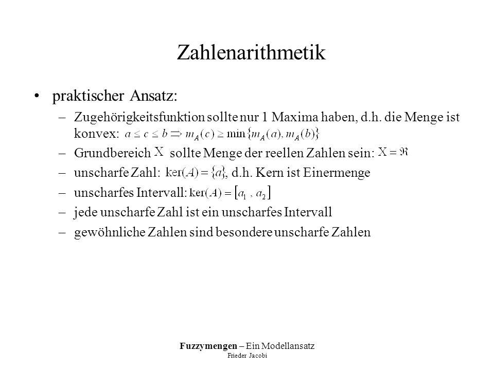 Fuzzymengen – Ein Modellansatz Frieder Jacobi Zahlenarithmetik praktischer Ansatz: –Zugehörigkeitsfunktion sollte nur 1 Maxima haben, d.h.