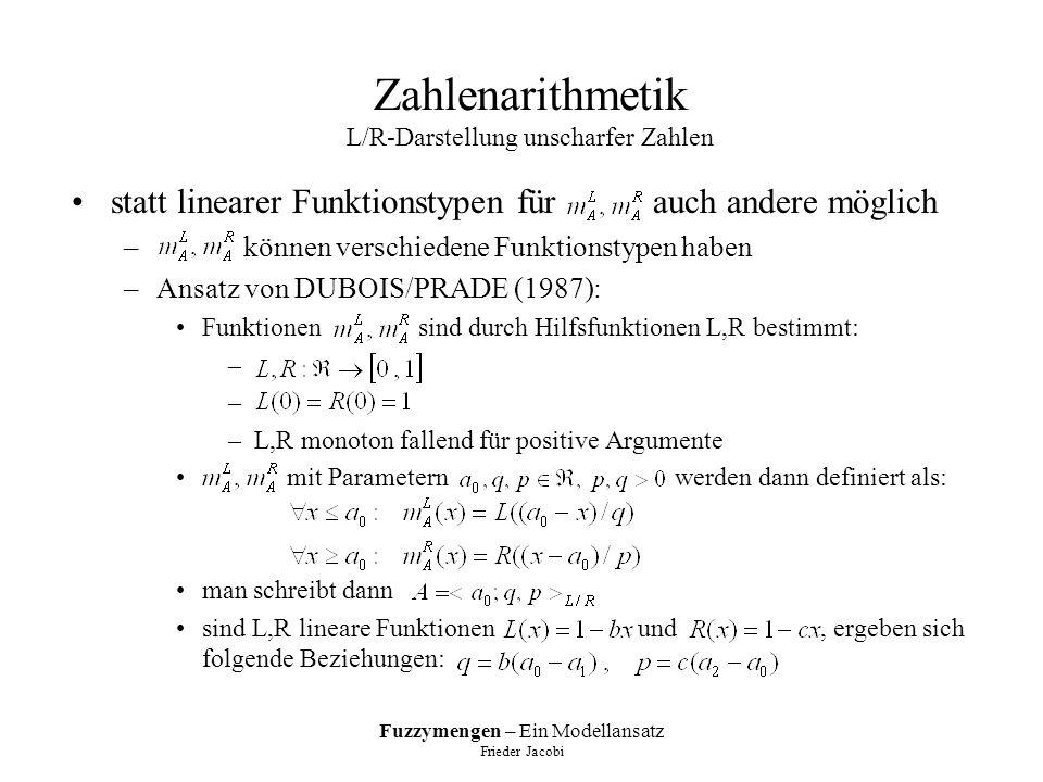 Fuzzymengen – Ein Modellansatz Frieder Jacobi Zahlenarithmetik L/R-Darstellung unscharfer Zahlen statt linearer Funktionstypen für auch andere möglich – können verschiedene Funktionstypen haben –Ansatz von DUBOIS/PRADE (1987): Funktionen sind durch Hilfsfunktionen L,R bestimmt: – –L,R monoton fallend für positive Argumente mit Parametern werden dann definiert als: man schreibt dann sind L,R lineare Funktionen und, ergeben sich folgende Beziehungen:
