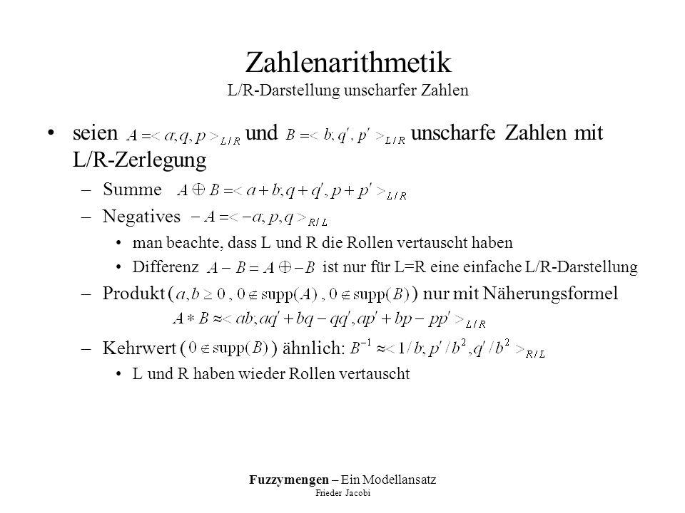 Fuzzymengen – Ein Modellansatz Frieder Jacobi Zahlenarithmetik L/R-Darstellung unscharfer Zahlen seien und unscharfe Zahlen mit L/R-Zerlegung –Summe –Negatives man beachte, dass L und R die Rollen vertauscht haben Differenz ist nur für L=R eine einfache L/R-Darstellung –Produkt ( ) nur mit Näherungsformel –Kehrwert ( ) ähnlich: L und R haben wieder Rollen vertauscht