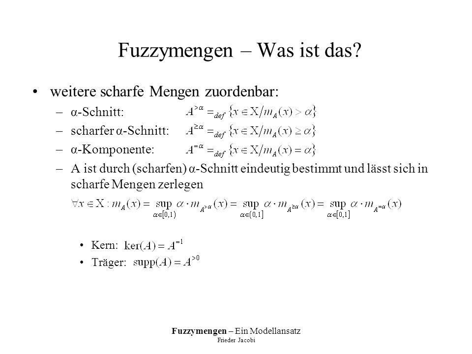 Fuzzymengen – Ein Modellansatz Frieder Jacobi Zahlenarithmetik geltende Gesetze: –Kommutativ- und Assoziativgesetze gelten –Distributivgesetz nur bedingt: nur, wenn oder A eine unscharfe Einermenge ist –-A nur bedingt additives Inverses von A da nur für, aber i.A.
