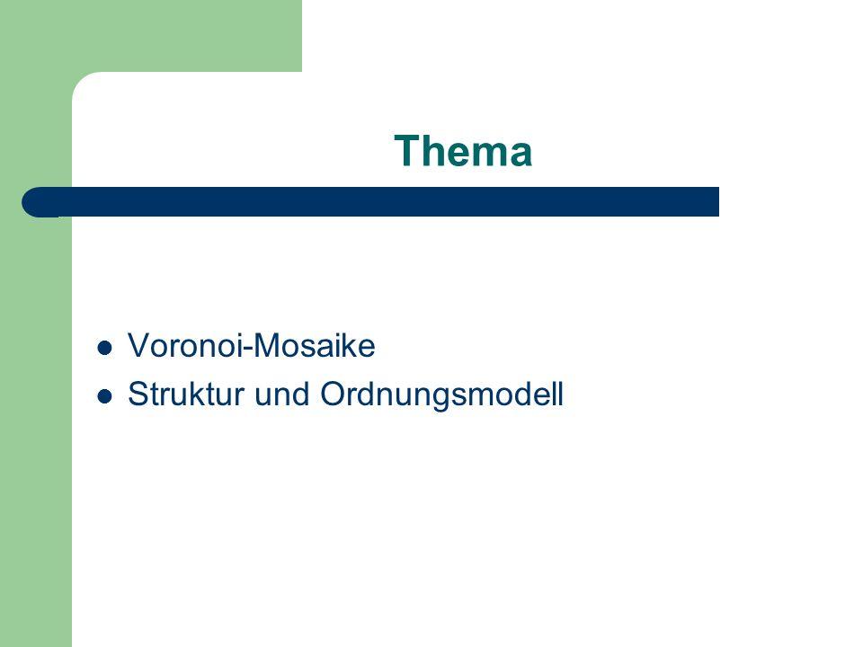 Gliederung Einführung Voronoi-Mosaike Vollständige und unvollständige Mosaike Voronoi-Mosaike Beispiel Anwendungsgebiete