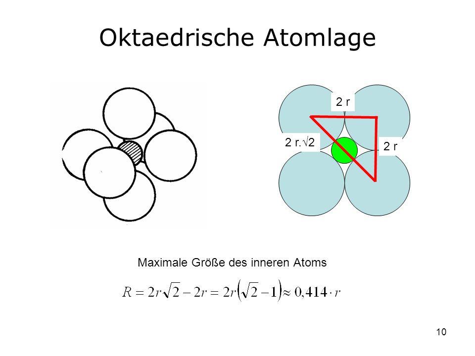 10 Oktaedrische Atomlage 2 r 2 r.2 Maximale Größe des inneren Atoms