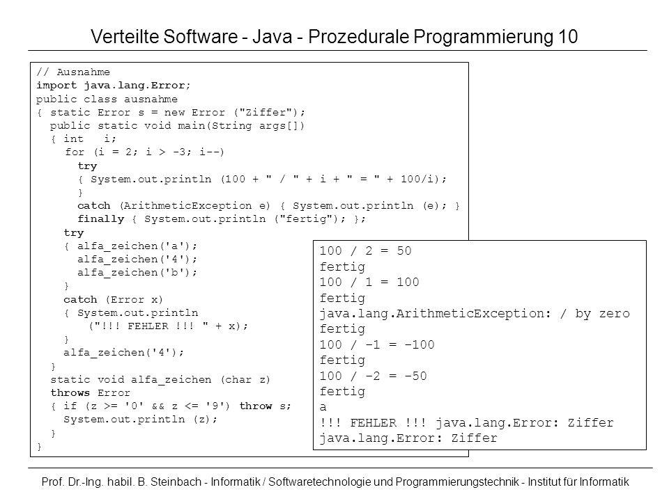 Prof. Dr.-Ing. habil. B. Steinbach - Informatik / Softwaretechnologie und Programmierungstechnik - Institut für Informatik Verteilte Software - Java -