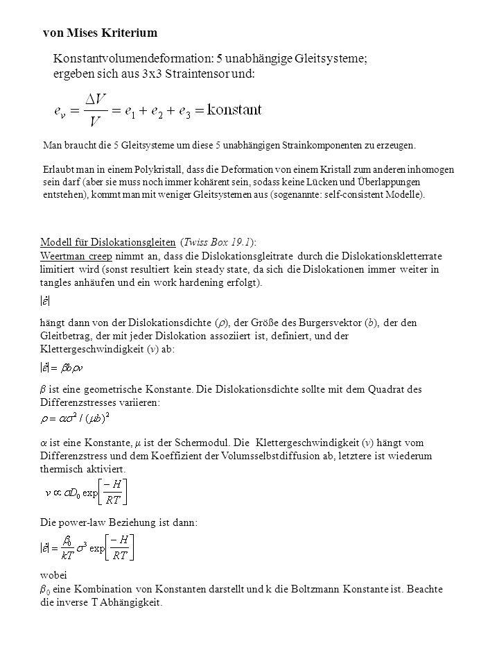 Modell für Dislokationsgleiten (Twiss Box 19.1): Weertman creep nimmt an, dass die Dislokationsgleitrate durch die Dislokationskletterrate limitiert w