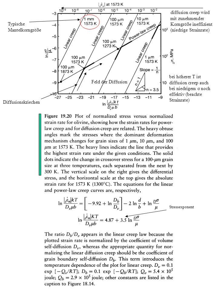 Typische Mantelkorngröße Diffusionskriechen Stressexponent diffusion creep wird mit zunehmender Korngröße ineffizient (niedrige Strainrate) bei höhere