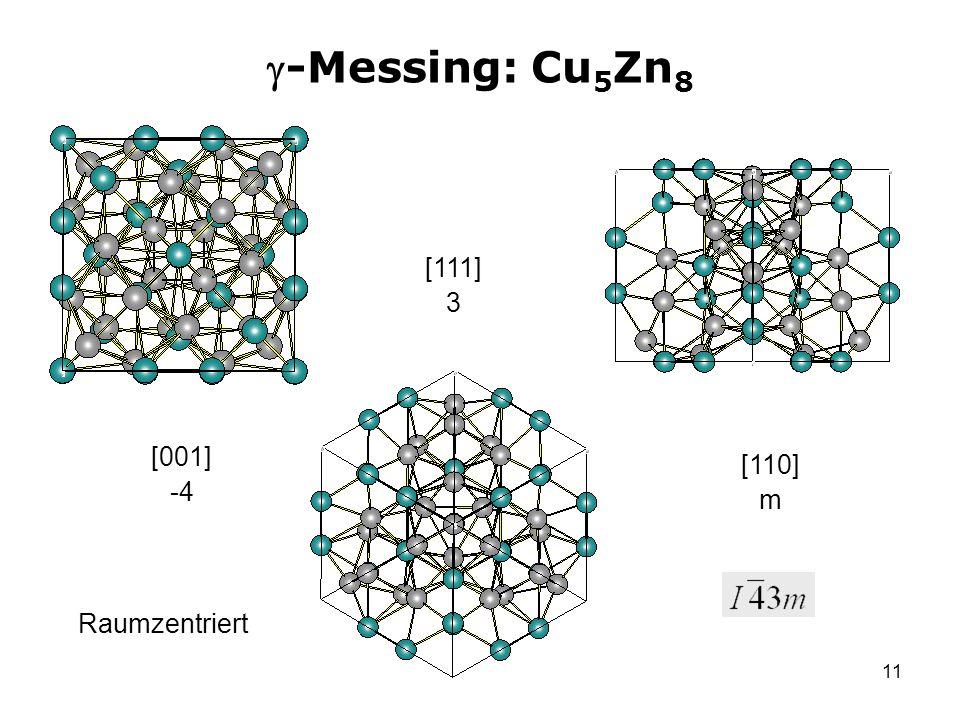 11 -Messing: Cu 5 Zn 8 [001] -4 [111] 3 [110] m Raumzentriert