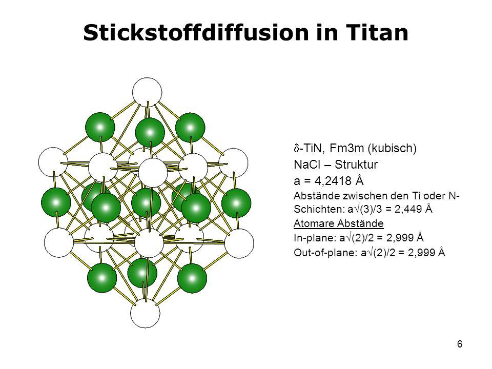 6 Stickstoffdiffusion in Titan -TiN, Fm3m (kubisch) NaCl – Struktur a = 4,2418 Å Abstände zwischen den Ti oder N- Schichten: a (3)/3 = 2,449 Å Atomare