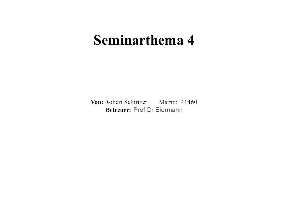 Seminarthema 4 Von: Robert Schirmer Matnr.: 41460 Betreuer: Prof.Dr Eiermann