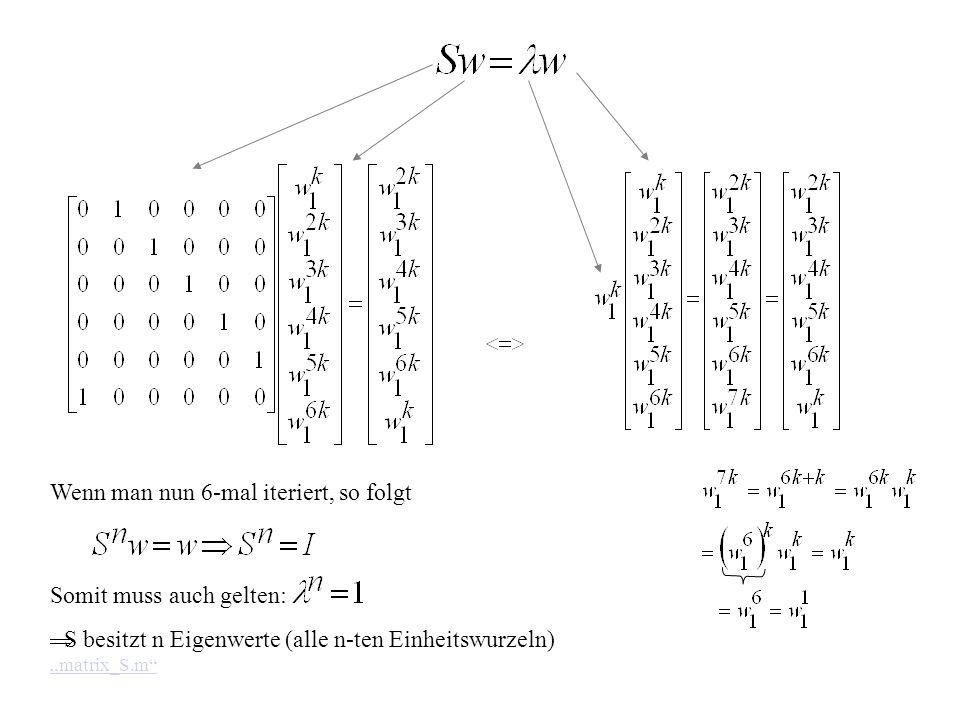 Wenn man nun 6-mal iteriert, so folgt Somit muss auch gelten: S besitzt n Eigenwerte (alle n-ten Einheitswurzeln) matrix_S.m matrix_S.m