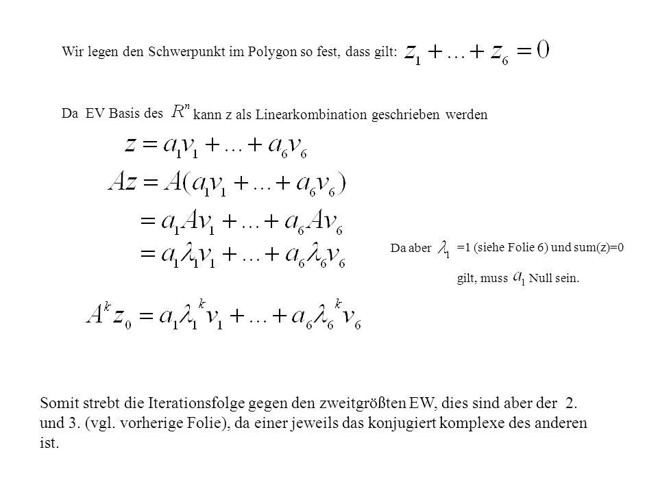 Wir legen den Schwerpunkt im Polygon so fest, dass gilt: Da EV Basis des kann z als Linearkombination geschrieben werden Da aber =1 (siehe Folie 6) un